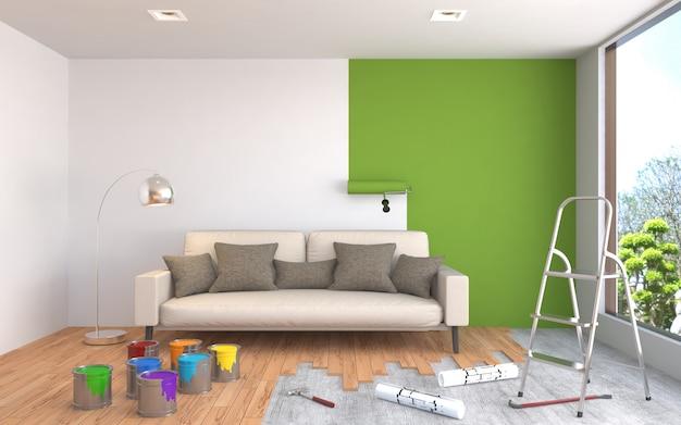 Reparatie en schilderen van muren in de kamer