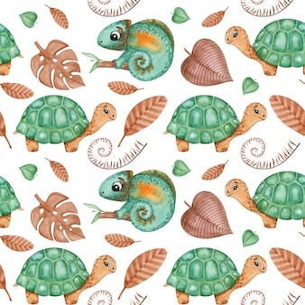 Reptielen baby digitaal papier, schildpad, kameleon kinderen