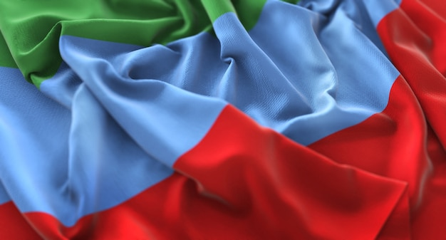 Republic of dagestan flag ruffled mooi wave macro close-up shot