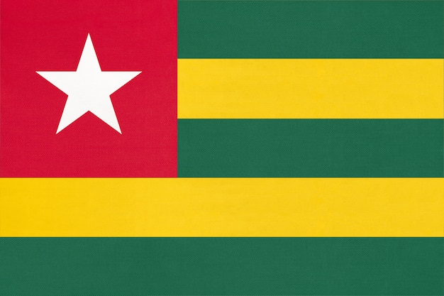 Republiek togolese nationale stof vlag textiel achtergrond. symbool van wereld afrikaans land.