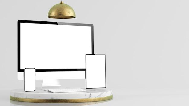 Responsieve apparaten bespotten op minimaal platform 3d-rendering