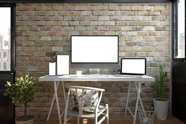 Responsieve apparaten op een desktop 3d-rendering
