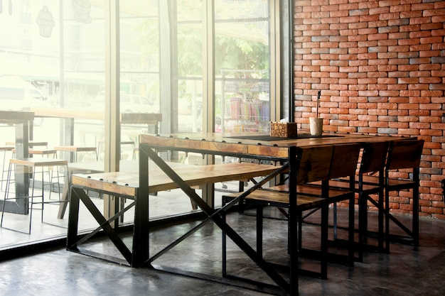 Restaurant en koffiewinkelkoffiebinnenland voor achtergrond.