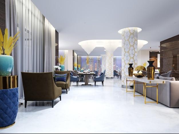 Restaurant en zitkamer in een modern hotel. 3d-rendering