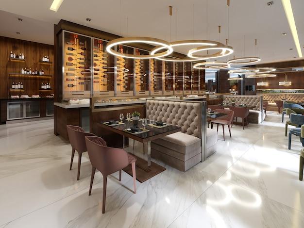 Restaurant in een moderne stijl met marmeren vloer hier banken stoelen met tafels decoratief roestvrij staal