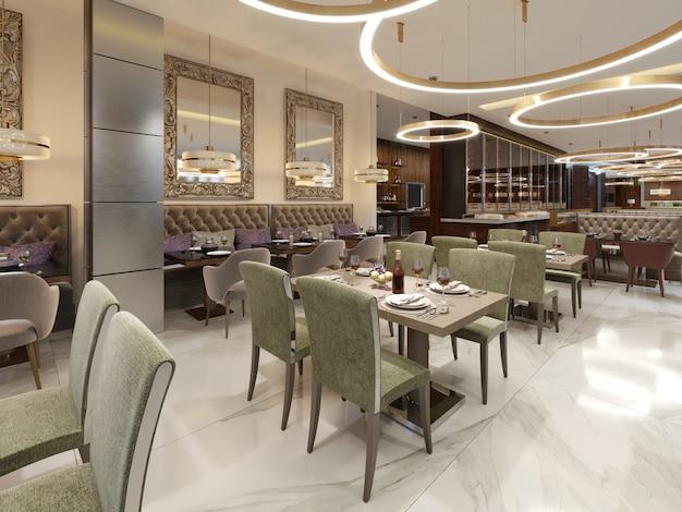 Restaurant in een moderne stijl met marmeren vloer hier zijn banken stoelen met tafels