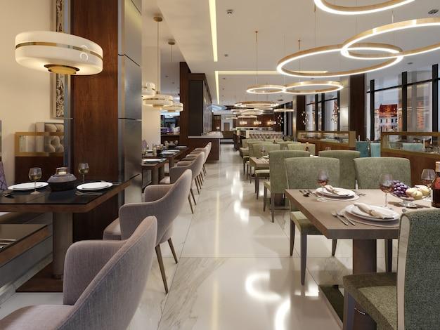 Restaurant in een moderne stijl met marmeren vloer met tafels decoratieve roestvrijstalen kolommen d rendering