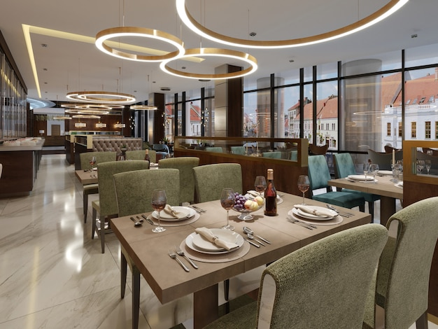 Restaurant in moderne stijl met marmeren vloer
