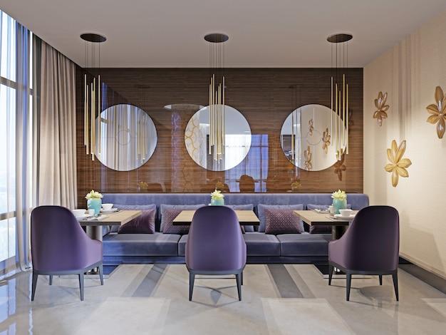Restaurant interieur, onderdeel van een hotel, muur met ronde spiegels. 3d-rendering
