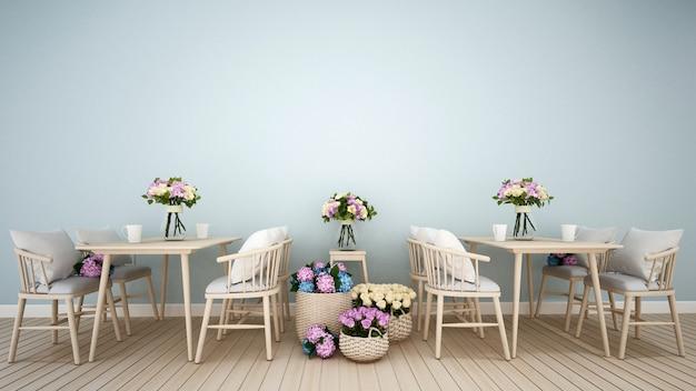 Restaurant of koffiewinkeldecoratiebloem het 3d teruggeven