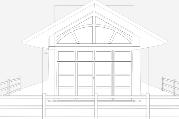 Restaurant zomerterras 3d illustratie schets schets