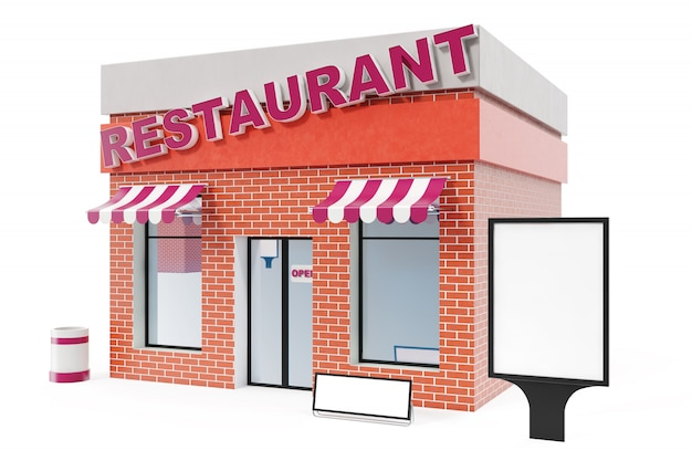 Restaurantopslag met exemplaar ruimteraad op witte achtergrond wordt geïsoleerd die. moderne winkelpanden, winkelgevels. buitenmarkt. de buitenbouw van de voorgevelopslag, het 3d teruggeven