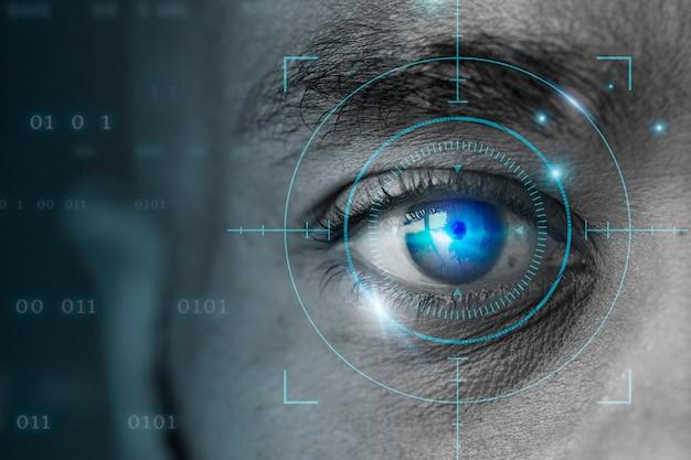 Retinale biometrische technologie met digitale remix van het mannenoog