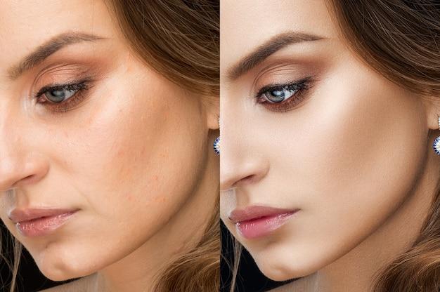 Retoucheer het gezicht van de mooie brunette vrouw voor en na.