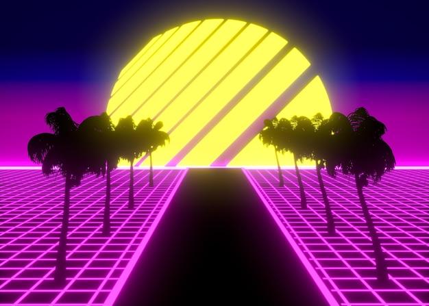 Retro 3d-vormen in vaporwave-stijl