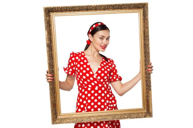 Retro frame met retro afbeelding van sexy pin up girl