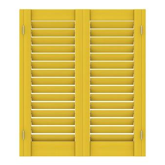 Retro geel houten raam met sutters jaloezie op een witte achtergrond. 3d-rendering