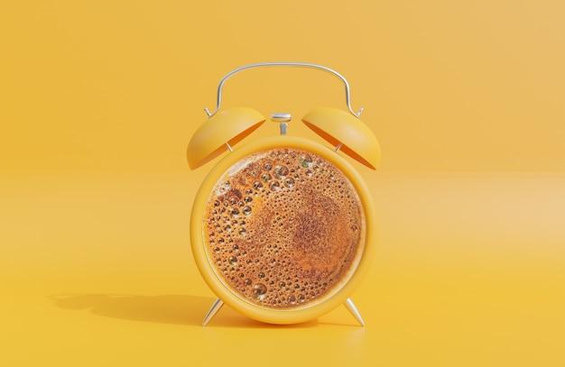 Retro gele wekker met zwarte koffie in het midden op gele achtergrond., 3d-model en illustratie.