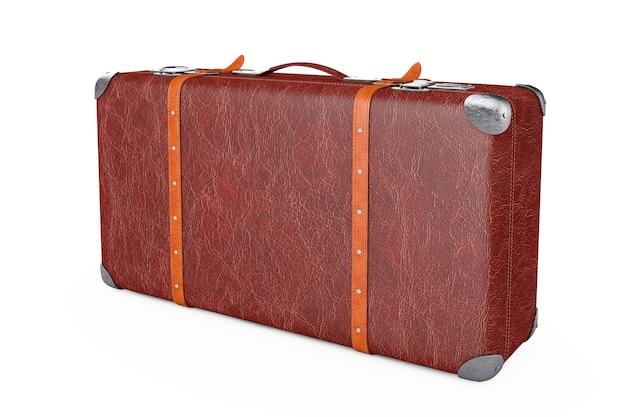 Retro lederen bruin versleten koffer met metalen hoeken en riemen op een witte achtergrond. 3d-rendering