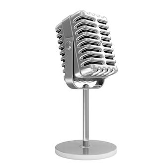 Retro metalen microfoon geïsoleerd op wit