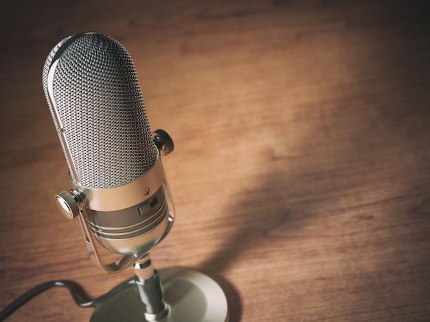 Retro microfoon op tafel met ruimte voor tekst. vintage stijl achtergrond. 3d illustratie