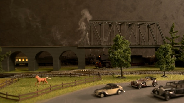 Retro miniatuur plattelandsmodel.