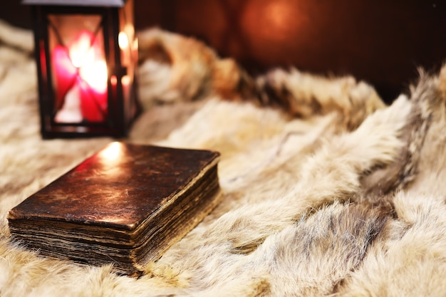 Retro oud boek en wereldbol op bont, leren en onderwijsconcepten.