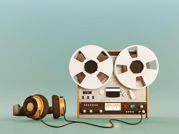 Retro oude bandrecorder en hoofdtelefoons