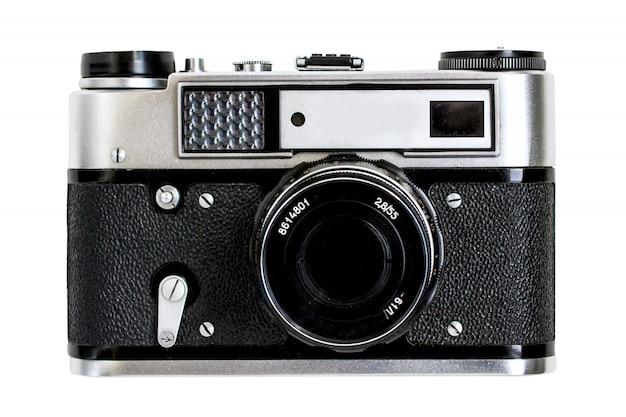 Retro oude camera, witte geïsoleerde achtergrond