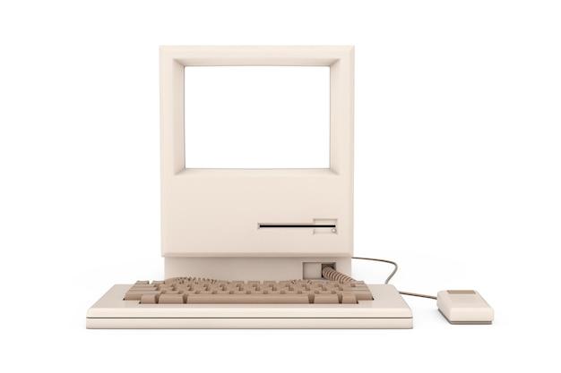 Retro-persoonlijke computer. de systeemeenheid, het toetsenbord, de muis en de monitor met vrije ruimte voor uw ontwerp op een witte achtergrond. 3d-rendering