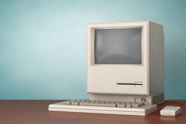 Retro-persoonlijke computer. de systeemeenheid, monitor, toetsenbord en muis op een houten tafel. 3d-rendering