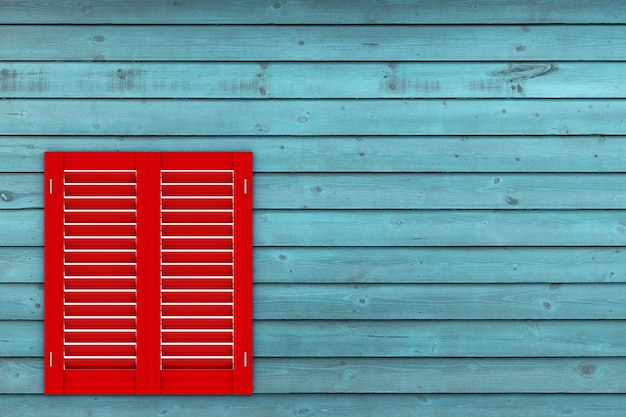 Retro rood houten raam met sutters jaloezie op een houten plank muur achtergrond. 3d-rendering