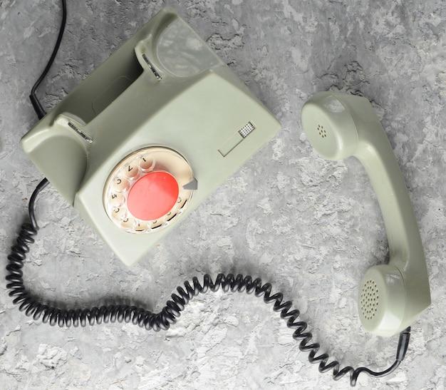 Retro roterende telefoon. bovenaanzicht.