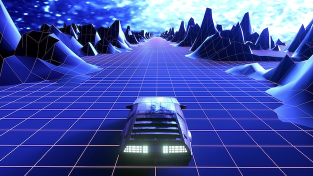 Retro synthwave night city car. 3d-weergave