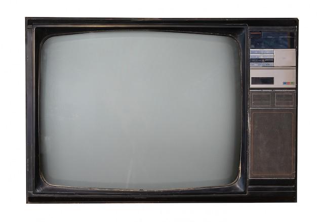 Retro televisie op wit met het knippen van weg wordt geïsoleerd die