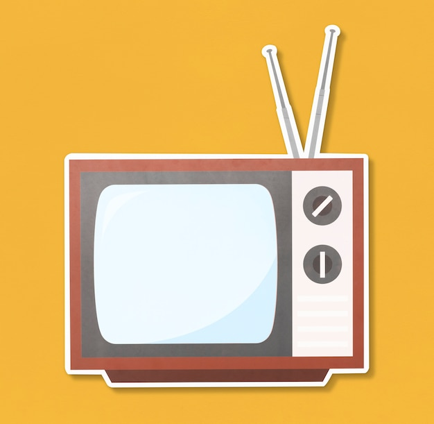 Retro tv-illustratie pictogram