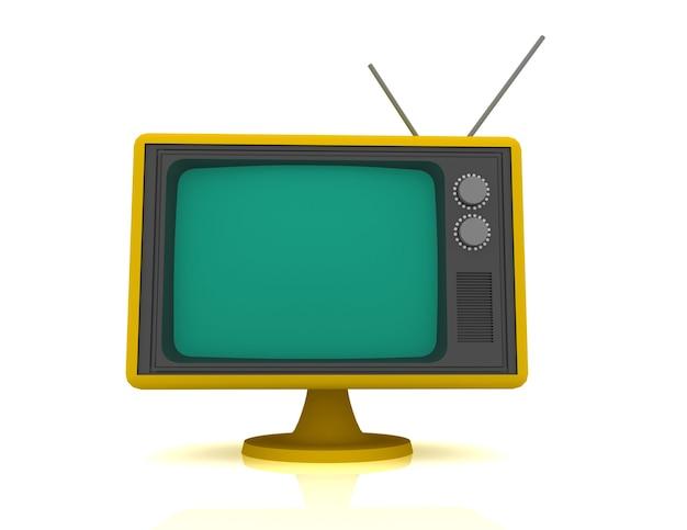 Retro vintage tv op witte achtergrond.