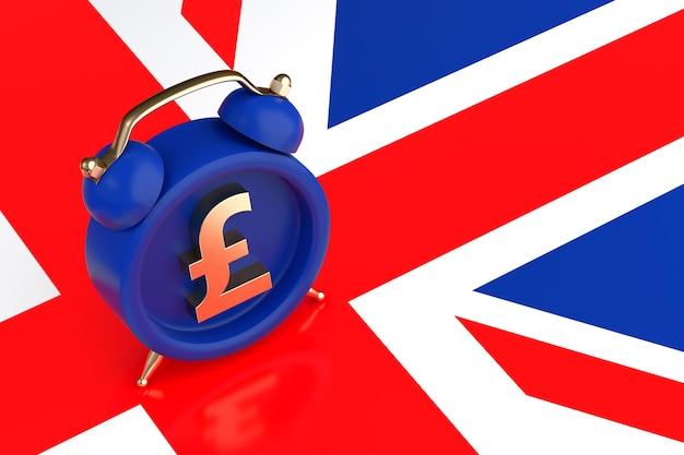 Retro wekker met pond-symbool op de achtergrond van de vlag van groot-brittannië. 3d-rendering