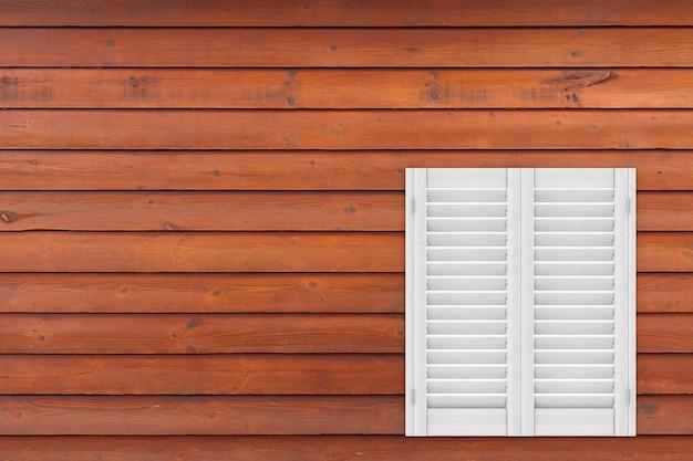 Retro wit houten raam met sutters jaloezie op een houten plank muur achtergrond. 3d-rendering