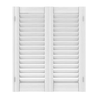 Retro wit houten raam met sutters jaloezie op een witte achtergrond. 3d-rendering