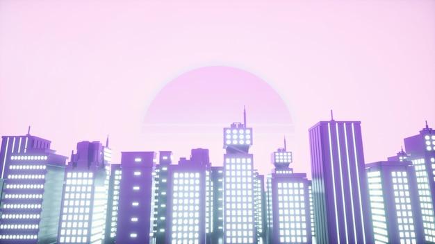 Retrowave stijl achtergrond van neon stad. 3d-rendering.