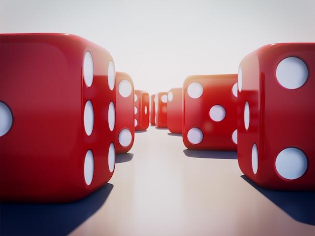 Reusachtige rode dobbelstenen. 3d-weergave