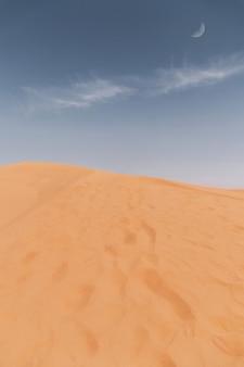 Reuze zandduin in de woestijn en een blauwe lucht met een lange jungle en een maan