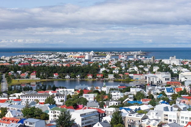 Reykjavik city bird view van kleurrijke huizen.