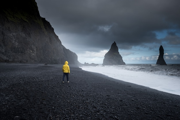 Reynisfjara black sand beach in vik, ijsland