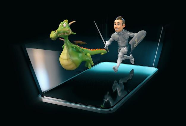 Ridder en draak - 3d illustratie