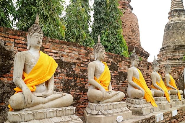 Rij boeddhabeelden met groep stoepa's wat yai chai mongkhon tempel ayutthaya thailand