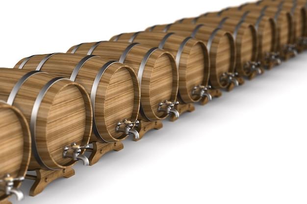 Rij houten vat op witte achtergrond. geïsoleerde 3d illustratie