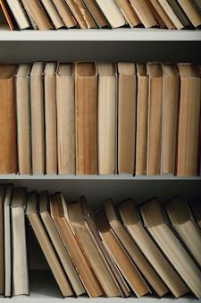 Rij van boeken op planken, literatuurconcept