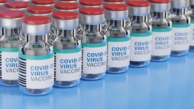 Rij van covid-19-virusvaccinflessen en een spuit met een naald op een blauw oppervlak